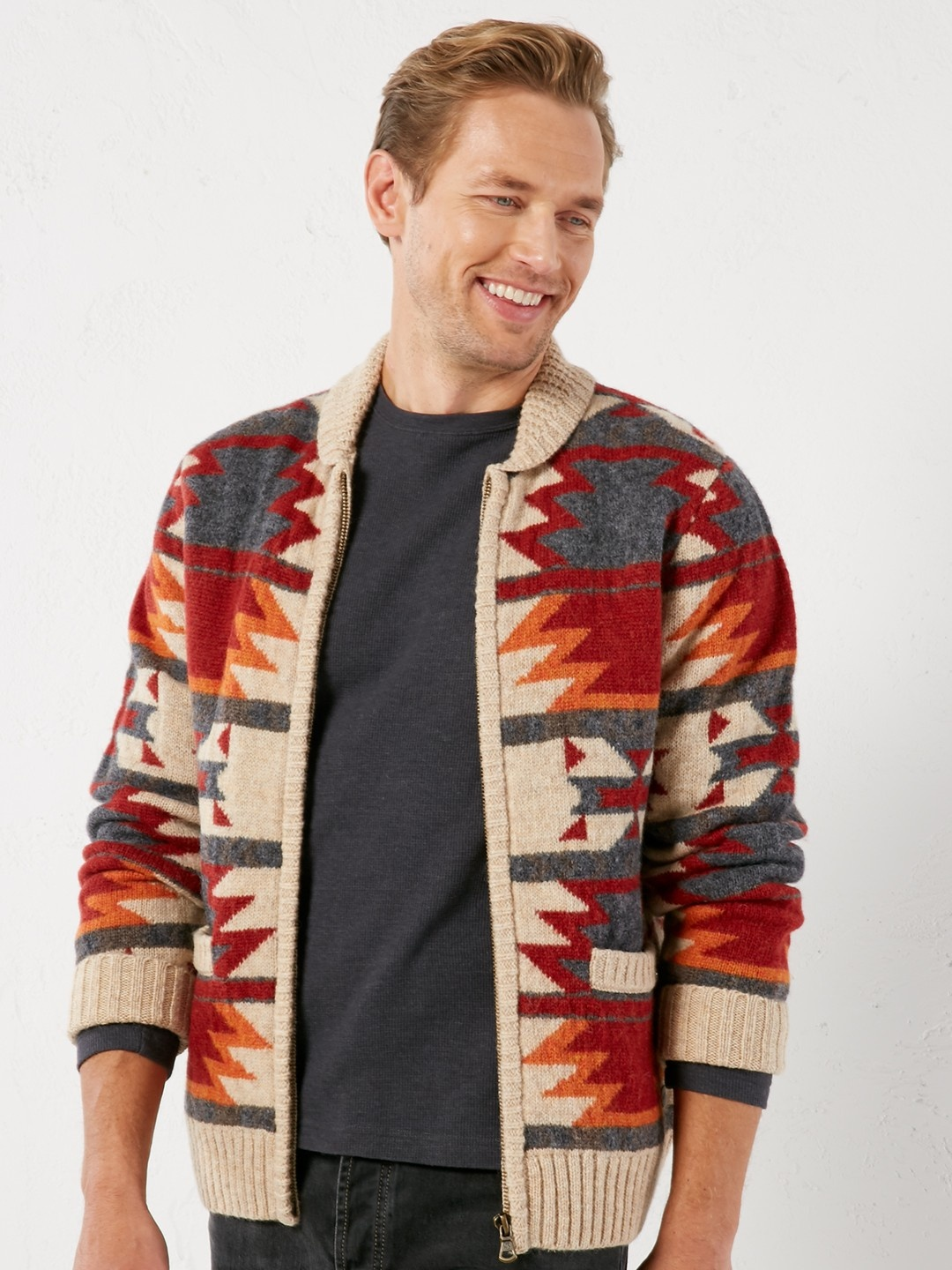 Dutton zip pattern knit