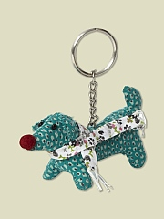 TRICKSY TEAL DOG KEYRING